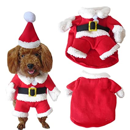 a4e21e9013c PetBoBo Pet Dog Cat Christmas Costumes Suit with Cap Santa Suit for Small  Medium Large Dogs Cat Christmas Boy Girl Hoodies Soft Dog Clothes Costumes