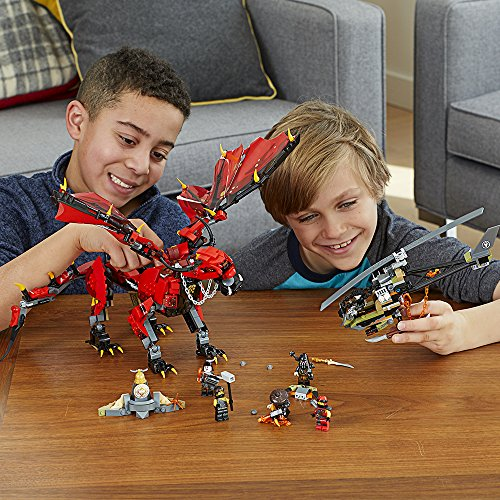61An9BzZvXL - LEGO NINJAGO Masters of Spinjitzu: Firstbourne 70653 Ninja Toy Building Kit with Red Dragon Figure, Minifigures and a Helicopter (882 Pieces)