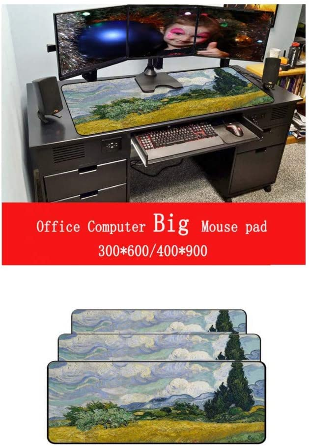 WHFDSBD Large Gaming Mouse Pad Locking Edge Mousepad Keyboards Mat Computer Game Tablet Mousepad