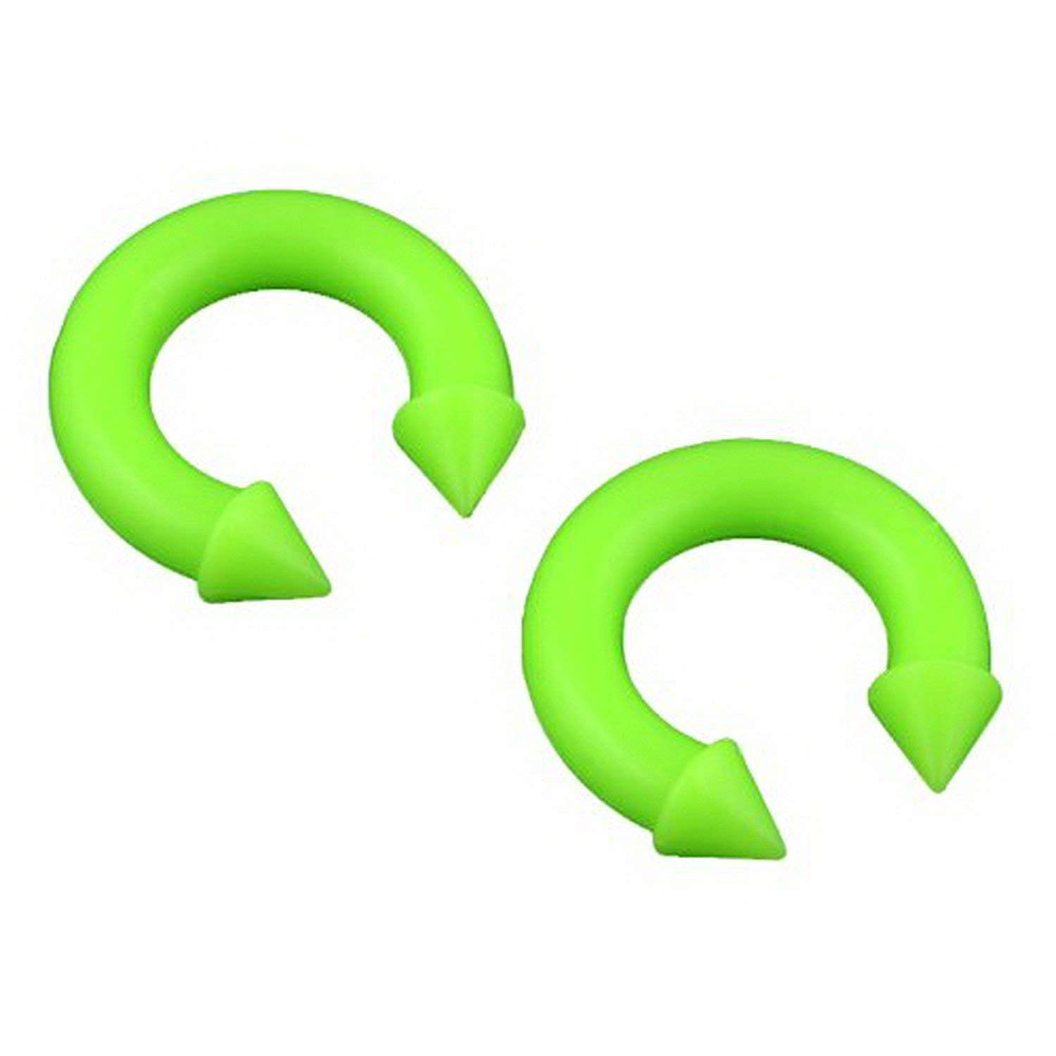 JewelryVolt Pair Silicone Horseshoe Spike Ends Plugs Gauge Flexible Rubber Plastic (Green 10mm (000g))