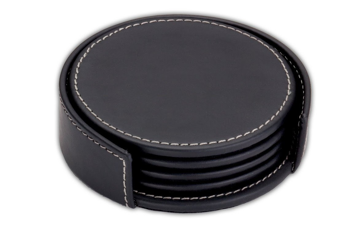 Dacasso Rustic Black Leather 4-Round Coaster Set by Dacasso