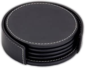 Dacasso Rustic Black Leather Coaster Set with Holder