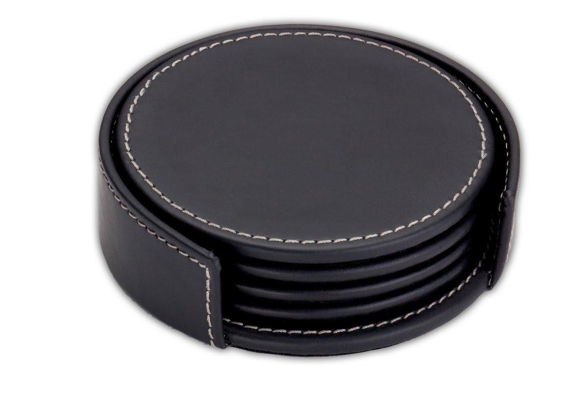 Dacasso Rustic Black Leather 4-Round Coaster Set