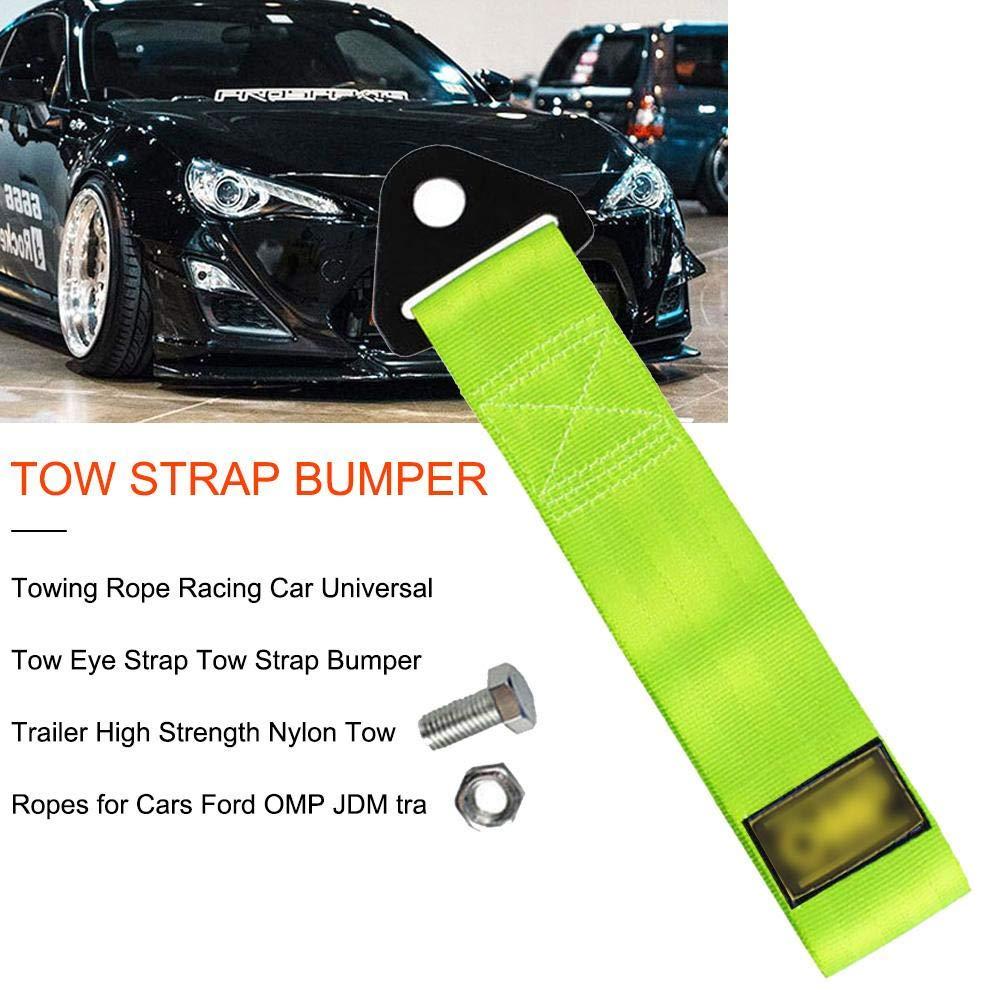 Verde rimorchio per paraurti anteriore con corda decorativa con gancio cintura di trazione personalit/à modificata Rimorchio di traino per auto