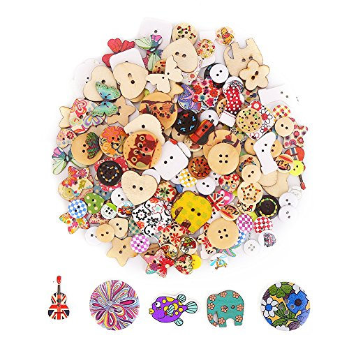DECORA 200pcs Assorted Design Wooden Buttons for Crafts Scrapbooking or (Beautiful Black Glass Buttons)