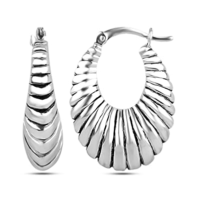ff328dd2a LeCalla Sterling Silver Jewelry Antique Electroform Puff Hoop Earrings for  Women