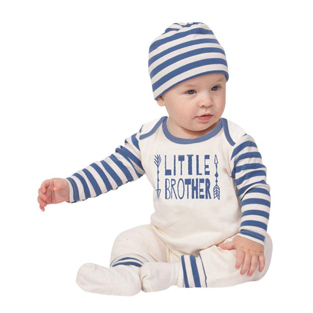 Strampler Baby Junge Mädchen, Baywell Gestreifter Brief Drucken Karikatur Augenbrauen und Augen Muster Baby Overall mit Hut Bekleidungsset