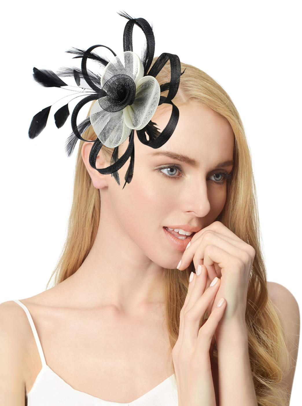 Z&X Spiral Flower Feather Fasciantors with Hair Clip Brooch for Women and Girls