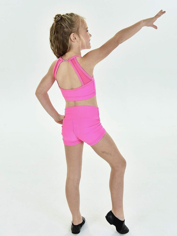 Big Girls Raspberry Front Back Mesh Insets SYDNI Dancewear Bra Top 7-14