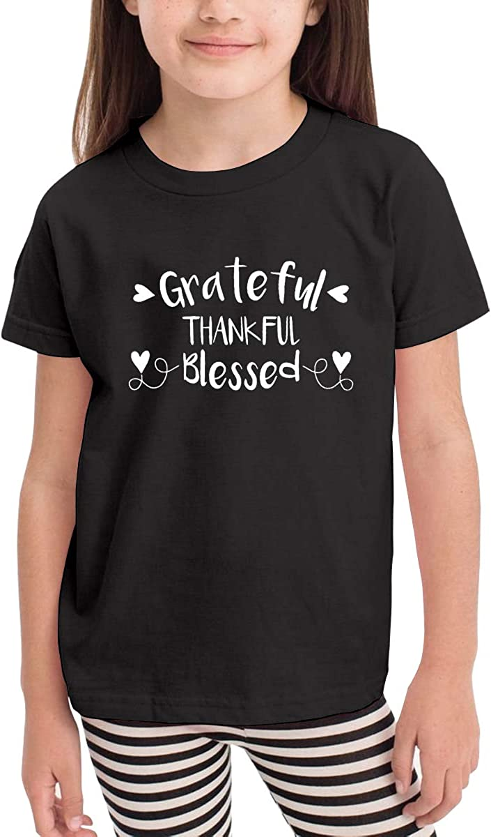 Onlybabycare Grateful Thankful Blessed Toddler Boys Girls Short Sleeve T Shirt Kids Summer Top Tee 100/% Cotton Clothes 2-6 T