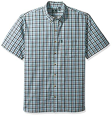 G.H. Bass & Co. Men's Big and Tall Short Sleeve Seersucker Small Plaid Shirt
