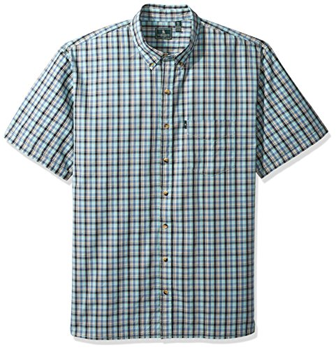 Aqua Seersucker - G.H. Bass & Co. Men's Size Big and Tall Short Sleeve Seersucker Small Plaid Shirt, Aqua Haze, X-Large
