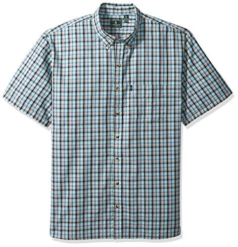 G.H. Bass & Co. Men's Big and Tall Summit Creek Seersucker Short Sleeve Button Down Plaid Shirt