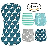 iZiv 4 PACK Baby Baby Burp Cloths Feeding Nursing Towel Accessory, 3 Layers Absorbent Printing Soft Cotton 0-2 Years(Color-3)