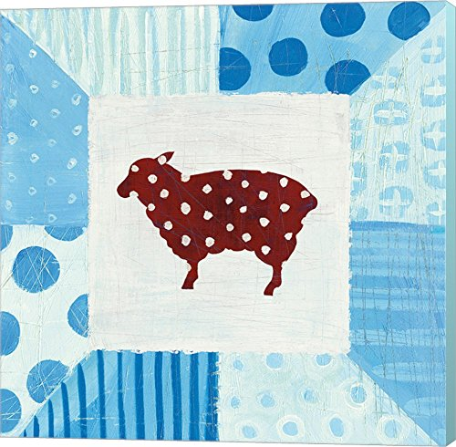 Modern Americana Farm Quilt II by Melissa Averinos Canvas Art Wall Picture, Museum Wrapped with Aqua Sides, 12 x 12 inches ()
