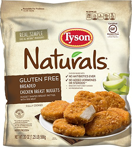 Tyson Naturals Gluten Free Breaded Chicken Breast Nuggets, 20 oz. (Frozen) (Best Chicken Nuggets For Kids)