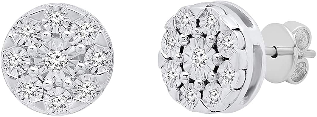 1//10ct Round White Natural Diamond Sterling Silver Miracle Set Solitaire Look Cluster Pendant