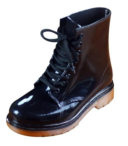 Regenstiefel Damen Kurzschaft Gummistiefel Herren Stiefeletten Boots Schwarz PVC Regen Boots 9I6hw