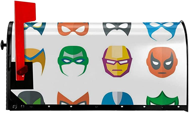 Jolly2t Magnetic Mailbox Cover 18 W X 21 H Hero Mask Female Male Costume Power Justice People Fashion Icons Kids Display Mailbox Wraps Post Letter Box Cover Amazon Co Uk Garden Outdoors