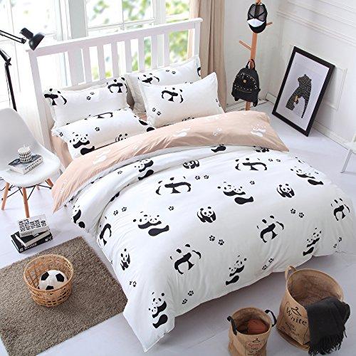 ttmall 3 pieces full queen size microfiber duvet cover set white and black panda animal. Black Bedroom Furniture Sets. Home Design Ideas