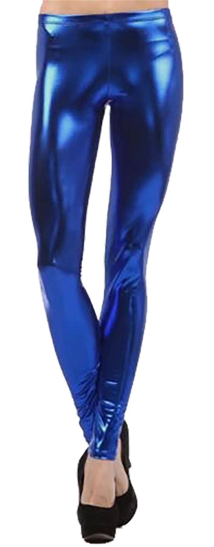 RIDDLED WITH STYLE Womens Stretch Shiny Metallic Legging Ladies Novelty Wet Look Disco Skinny Pants#(Royal Blue Wet Look Metallic Leggings#US 14-16#Womens)