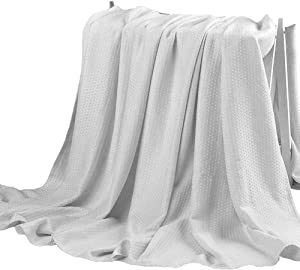 Hughapy Bamboo Fiber Blanket Air Conditioning Cool Blankets Lightweight Summer Thin Quilt Sofa Bed Travel Throw Blanket for Adults Teens (79 x 91 inches, Grey)
