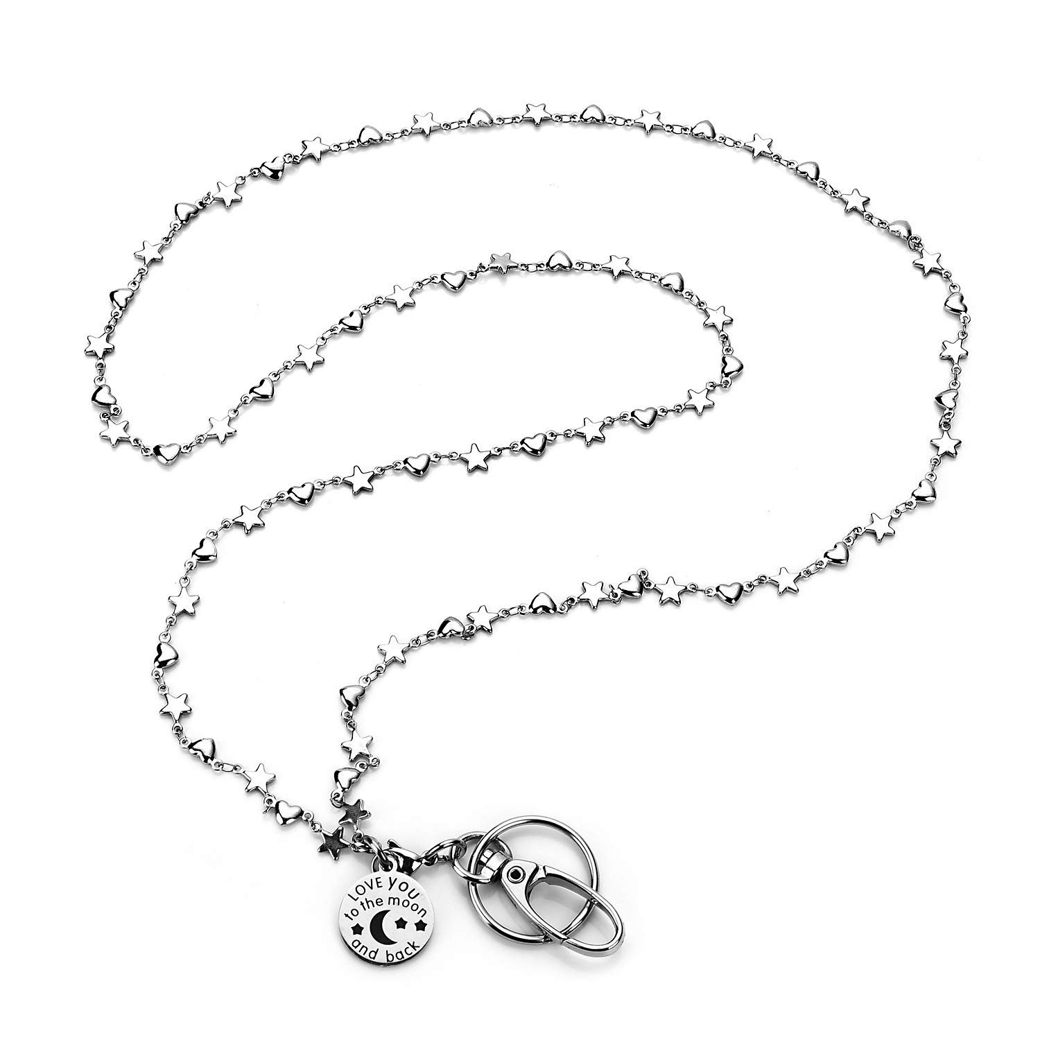 LUXIANDA Star and Heart Decoration Stainless Steel Chain Lanyard Necklace, for ID Badge Holder and Keys for Nurse,Teacher and OL