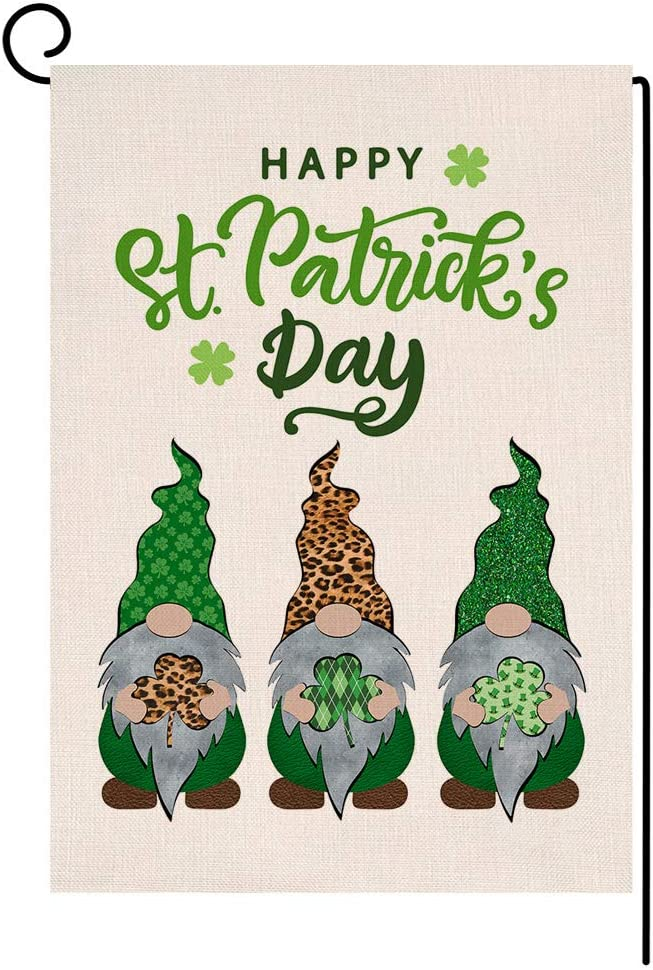 St. Patricks Day Gnomes Garden Flag Vertical Double Sided Burlap Yard Spring Shamrock Outdoor Decor 12.5 x 18 Inches