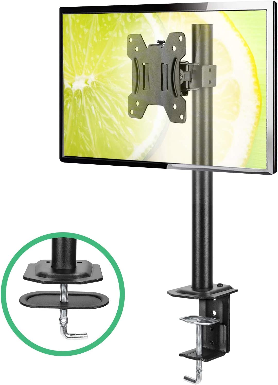 Single Monitor Stand - Computer Monitor Stand for 13 inch to 32 inch Screen, Adjustable Height, Tilt, Swivel, Rotation, Weight up to 17.6lbs