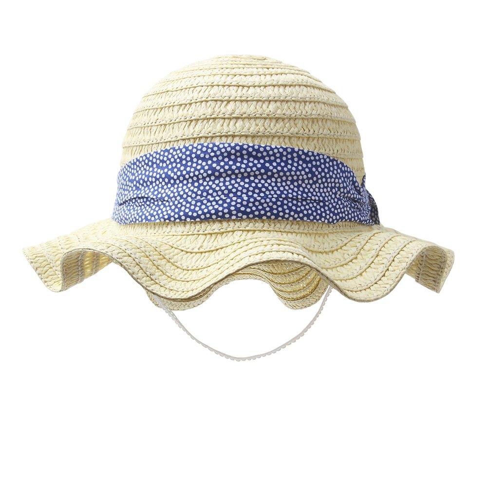 Vivobiniya Toddler Girl Bowknot Straw Hat Baby Girl Beach Hat 0-5T (47cm(Head Circumference 18.5in))