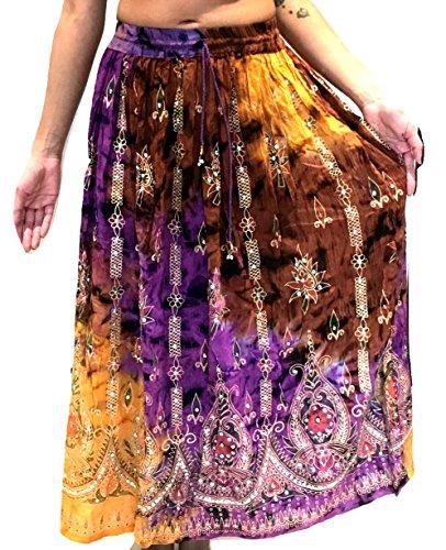 Femme colore Femmes Indian Boho Hippie Gypsy Sequin Summer Sundress Maxi Belly Dance Skirt Multi 5