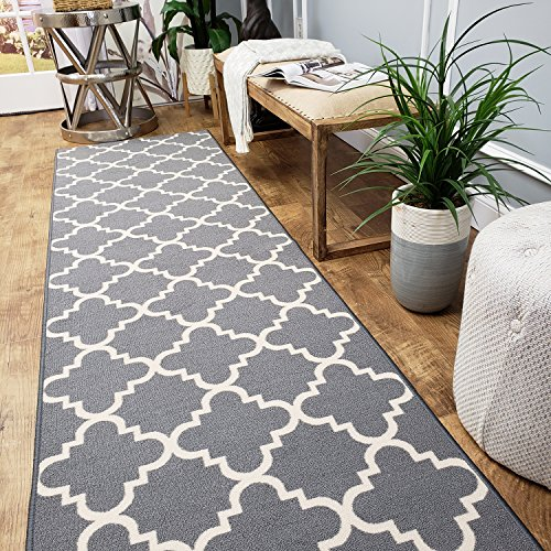 Custom Cut 31-inch Wide by 18-feet Long Runner, Grey Moroccan Trellis Non Slip, Non-Skid, Rubber Backed Stair, Hallway, Kitchen, Carpet Runner Rug - Choose Your Width by Length ()
