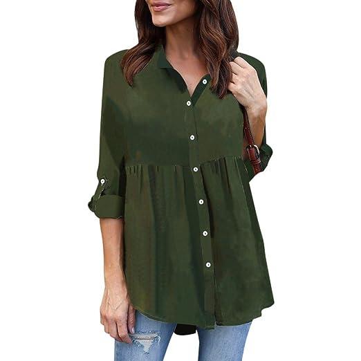947038257e1 Kangma Women Ladies Plus Size Solid Long Sleeve Casual Chiffon Work Blouse  Button-Down Shirt Army Green at Amazon Women s Clothing store