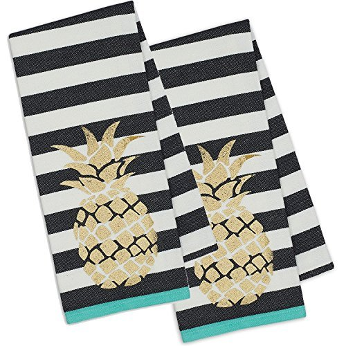 DII Set of 2 Golden Pineapple Dishtowels with Black and White Stripes (2) (Checkered Kitchen)