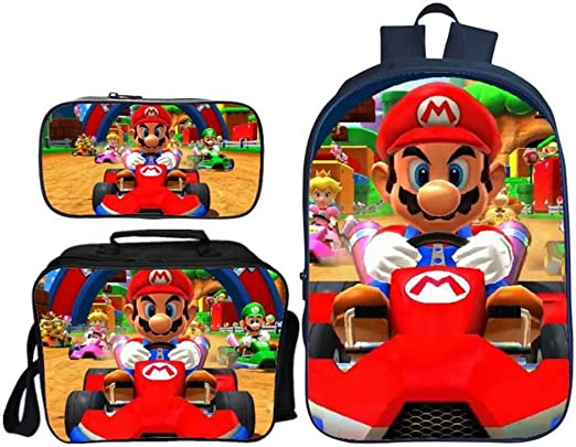 QWEIAS 3Pcs Mochila para niños - Super Mario Bros 3D Mochila Escolar para niños - 16 Pulgadas Mochila para niñas - Mochila Ligera para Estudiantes - Regalo L: Amazon.es: Hogar