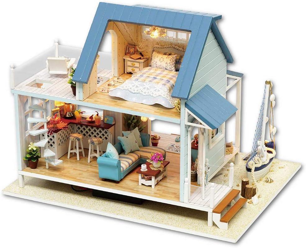 Spilay DIY ミニチュアドールハウス 木製家具キット ハンドメイド ミニモダンモデルプラス LED&オルゴール付き 1:24スケール クリエイティブ ドールハウス おもちゃ 子供 女の子 ギフト ブルー A037