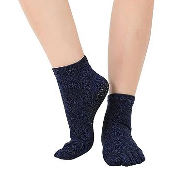 Antideslizante deslizamiento Yoga y Pilates agarre calcetines cinco dedos separador calcetines con agarre algodón para las mujeres (hct05), azul marino: ...