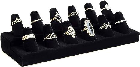 Velvet Multi Finger Ring Display Stand Jewellery Showcase Holder Counter Surpris