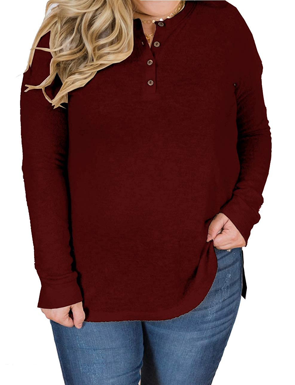 YSkkt Womens Henley Tops Plus Size Sweatshirts Long Sleeve Button Ribbed Knit Casual Fall Shirts