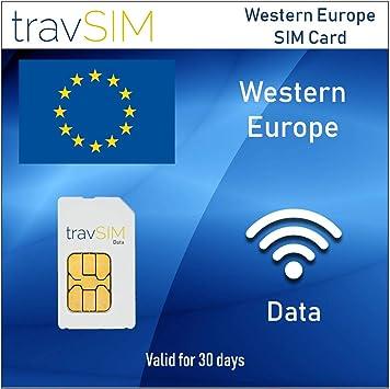 travSIM - Tarjeta SIM de Datos Prepagos para Europa Occidental: Amazon.es: Electrónica