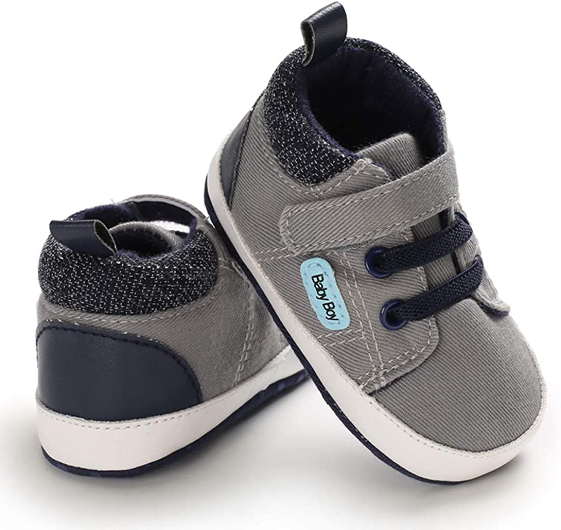 Mybbay Infant Baby Boy Girl Soft Sole Canvas Sneakers High Top Ankle Shoes Booties Toddler Newborn Prewalker First Baby Walking Crib Shoes