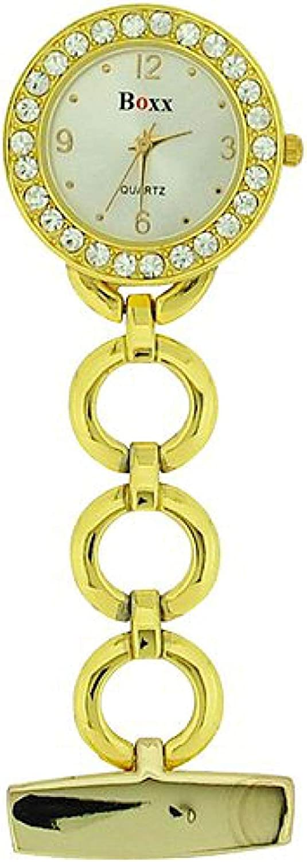 Reloj de Bolsillo BOXX Estilo Bling para Enfermeras, con Elegante Cadena de Aros en Dorado