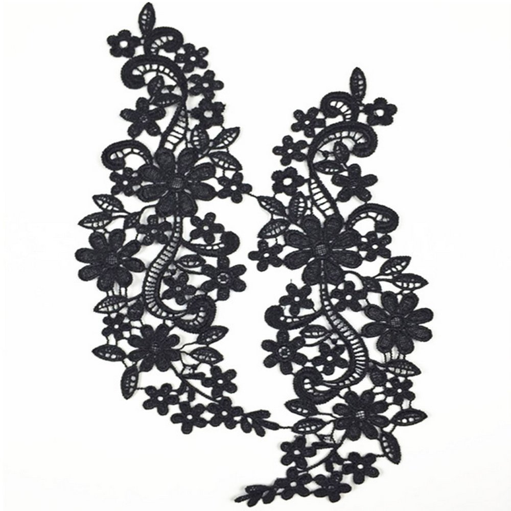 USJee 1 Pair Off-White Large Lace Flower Applique Patches Embroidery Sewing Craft Decoration Peacock Hill