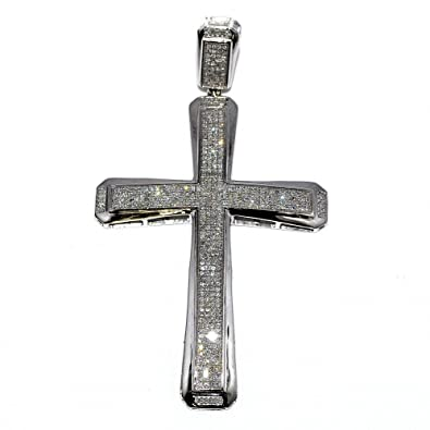 Amazon large diamond cross charm for men 10k white gold 12cttw large diamond cross charm for men 10k white gold 12cttw diamonds 58mm big mozeypictures Gallery