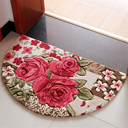 Sytian 19.68x31.49 Inch Rural Rug Rose Flower Rug Decorative Bedroom Living Room Carpet Mordern Shaggy Area Rug Soft Non-slip Doormat Floor Mat Bath Mat Bathroom Shower Rug (Pretty Rose Flowers) ()