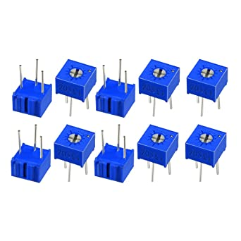sourcingmap Resistors 10k Ohm Top Adjustment Horizontal Cermet Potentiometer 6 Pcs