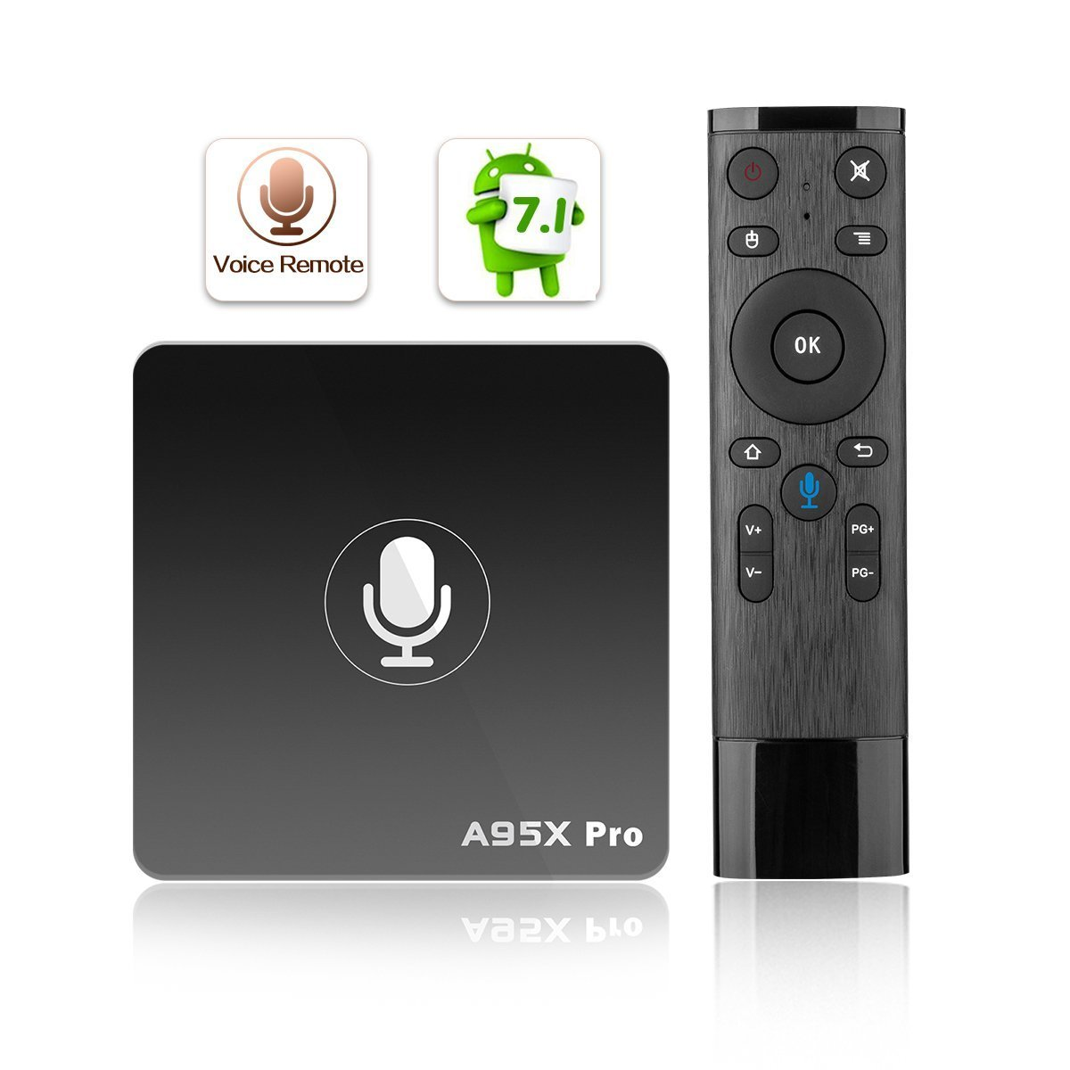 A95X PRO 2018 Media Player Google Android 7.1 TV Box Amlogic Quad-core 2GB RAM 16GB ROM 4K UHD 3D Smart Set Top Box With Voice Remote 2.4Ghz WiFi by TOJOYBOX