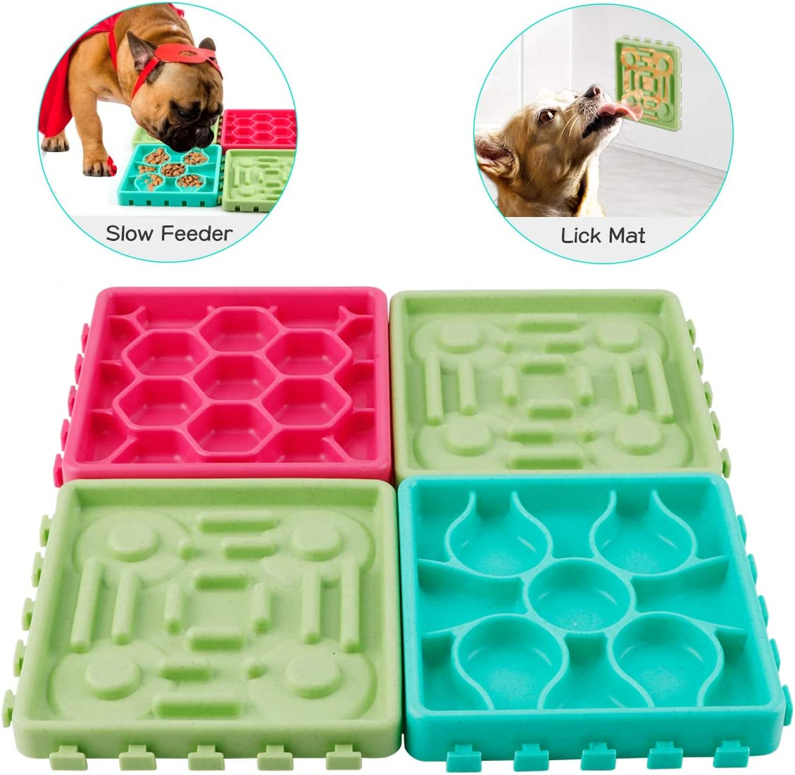 FPVERA 4 PCS Slow Feeder Dog Bowls Non Slip Puzzle Bowl Treat Dispensing Mat Suctions to Wall for Pet Bathing Grooming and Training