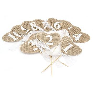 Pixnor Mesa de boda corazón rústico yute números con palo 1-10 ...