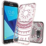 Galaxy J7 V Case,Galaxy J7 Sky Pro / J7 Perx / J7V 2017/ J7 Prime / Halo Case Clear with HD Screen Protector,AnoKe Grils Women Slim Fit Mandala Flower Phone Cover For Samsung Galaxy J7 2017 CHRoseGold